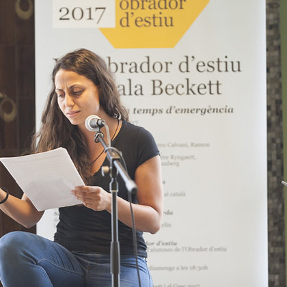 Reading one of my pieces. Speaker's Corner open mic at Sala Beckett (Barcelona, 2017)